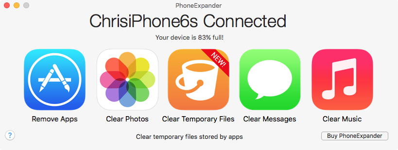 PhoneExpander Clear Temporary Files Mac screenshot 001