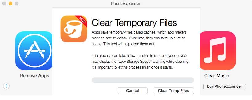 PhoneExpander Clear Temporary Files Mac screenshot 002