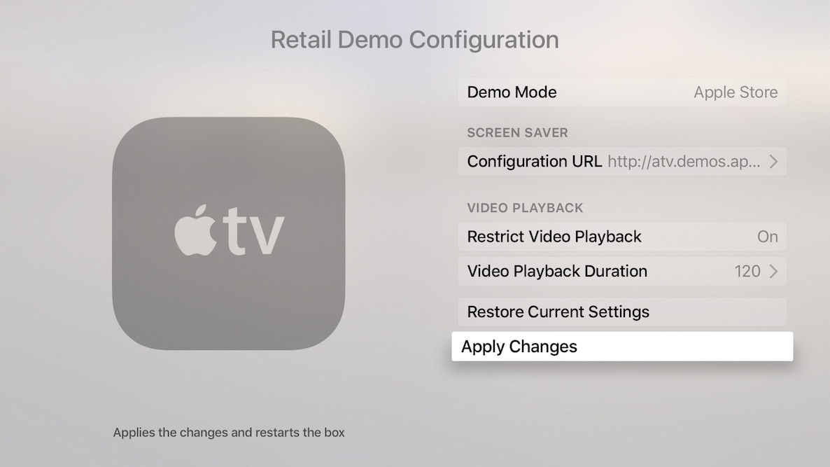 Retail Demo Mode Apple TV