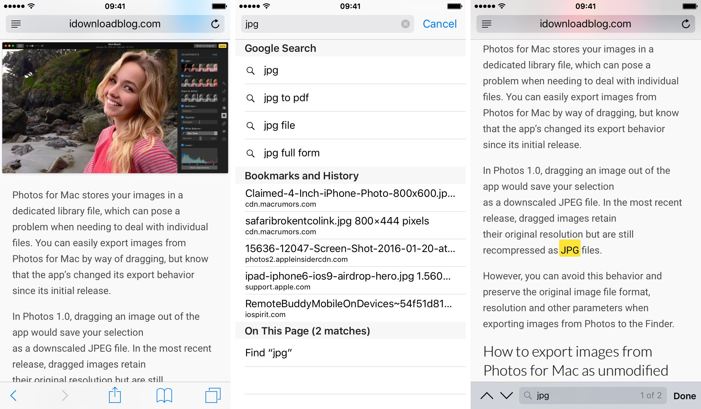 Find text in Safari for iPhone and iPad