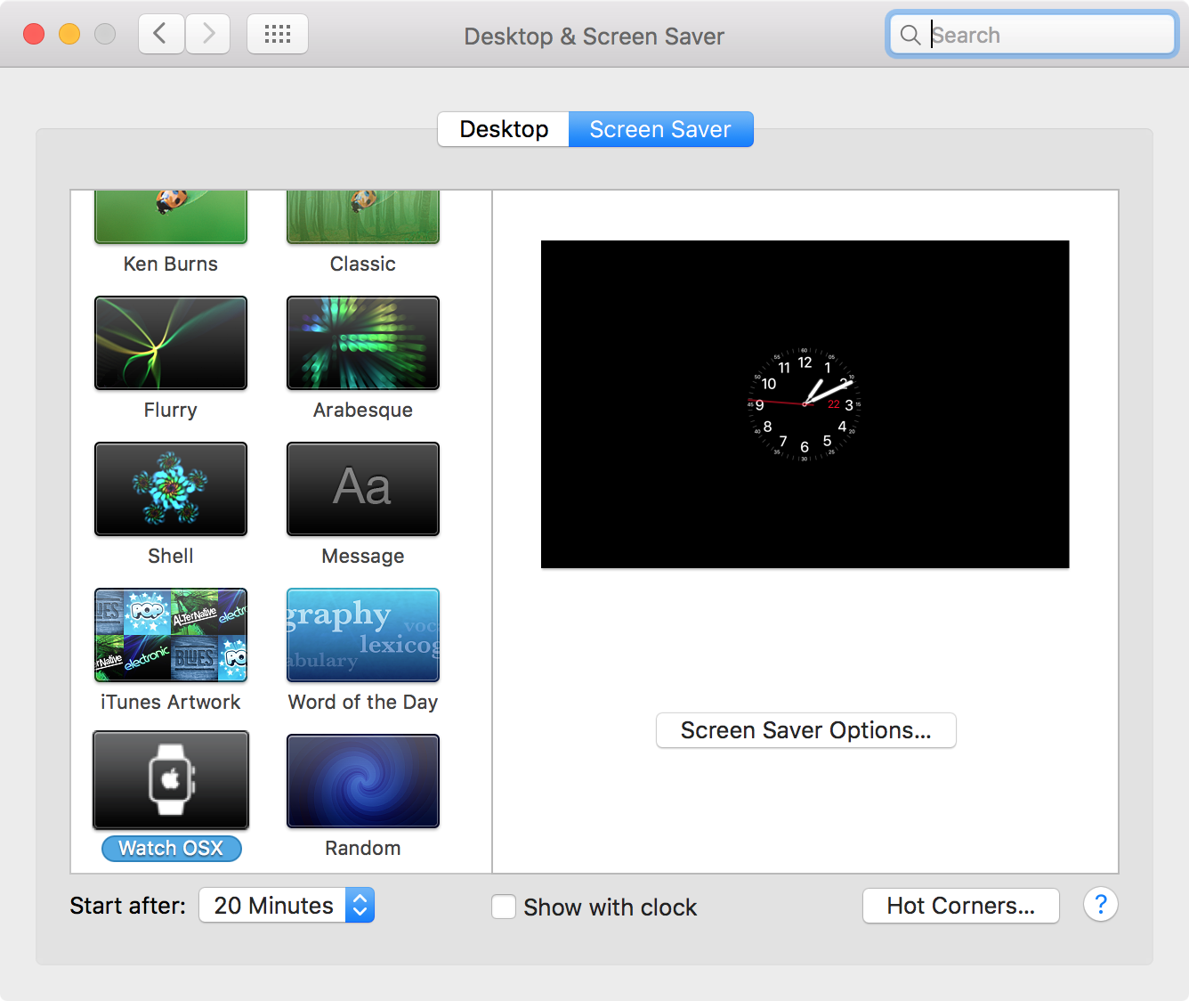 apple watch screensaver for mac settings 1