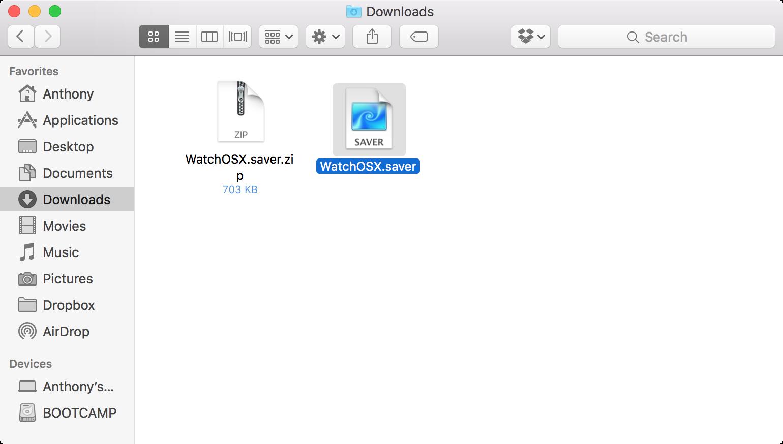 archivo de protector de pantalla de apple watch os x