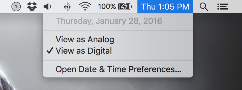 enable analog clock in your mac's menu bar