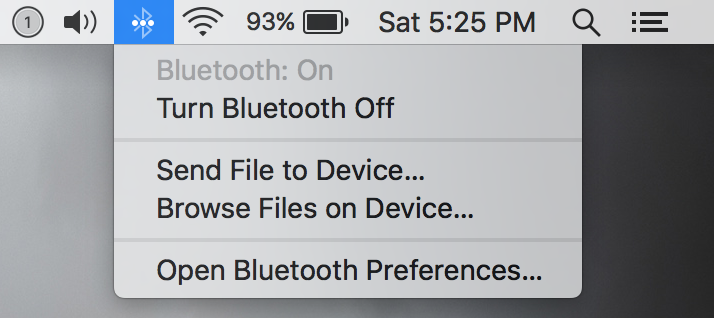 turn bluetooth off and on from mac menu bar