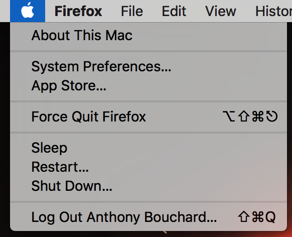 reboot mac from the apple menu in the menu bar