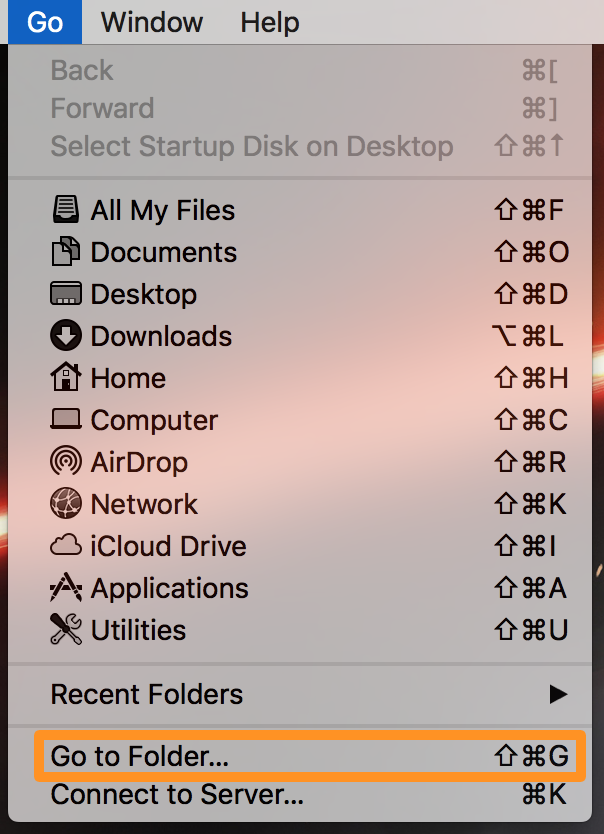 finder go to folder mac menu bar