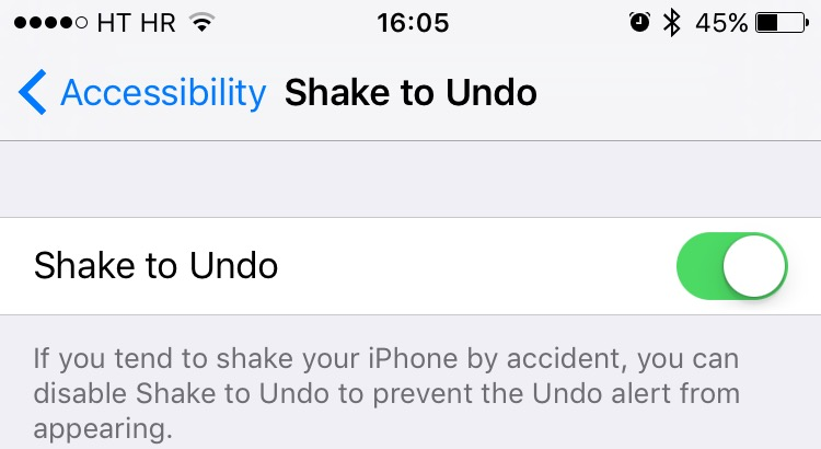 disable shake to undo iphone