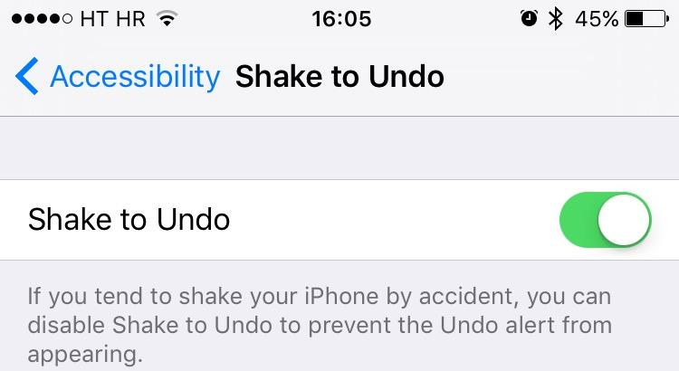 deshabilitar shake para deshacer el iphone