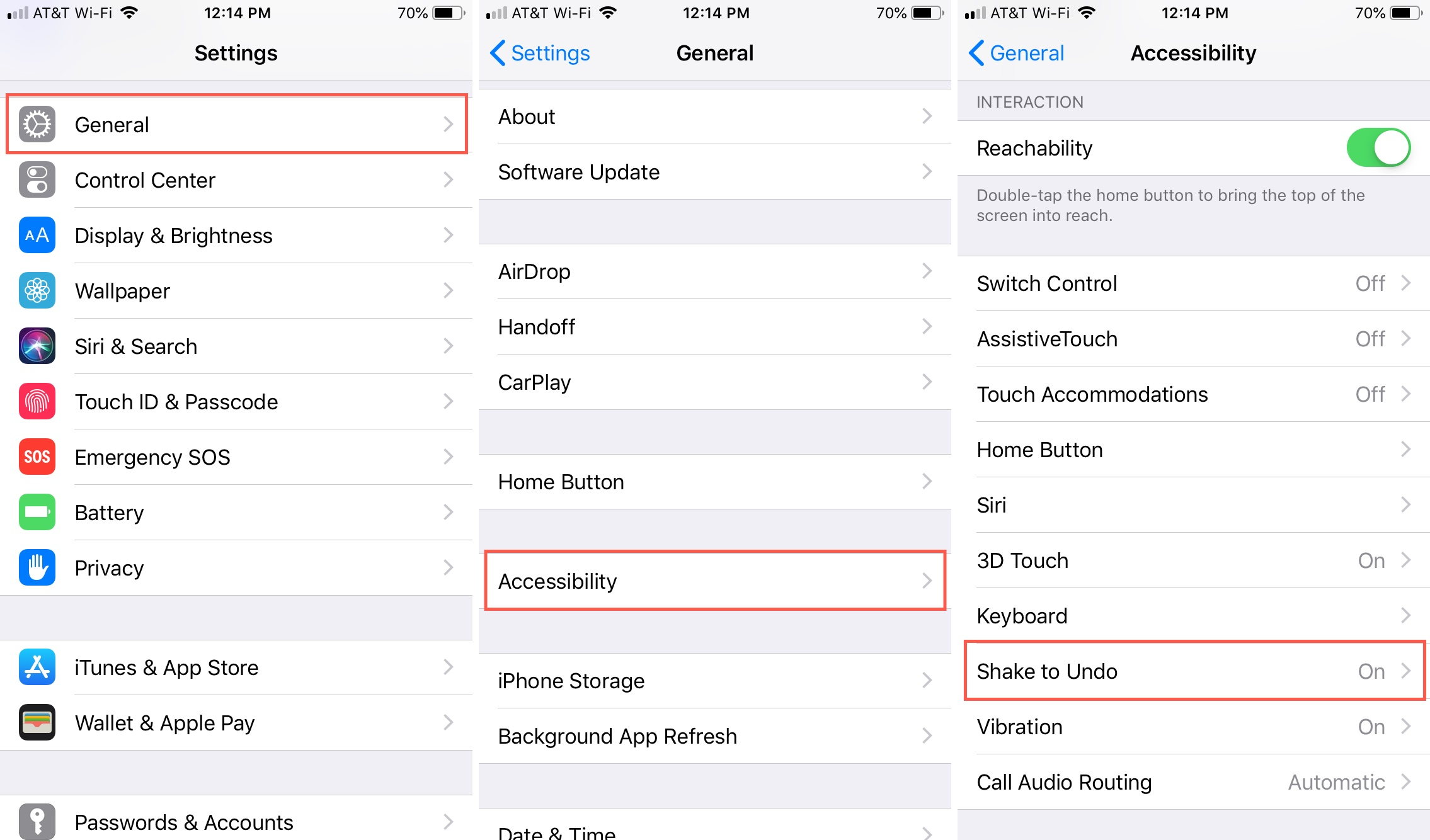 Agitar para deshacer en la configuración del iPhone