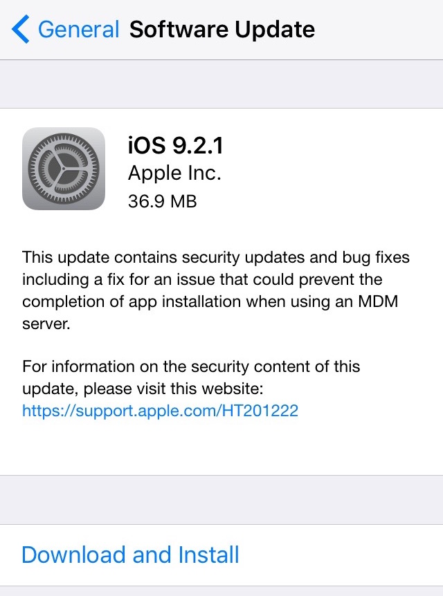 Software Update iOS 9.2.1