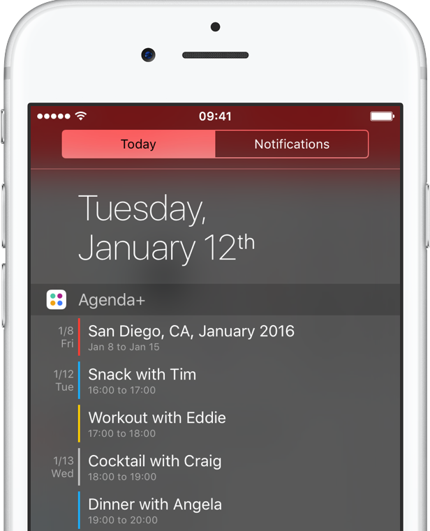 agenda widget notification center calendar