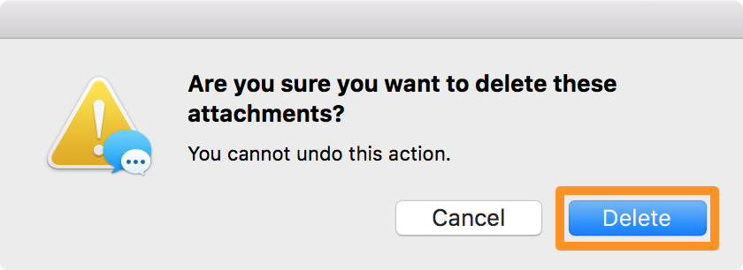 Confirm you want to bulk delete attachments from messages app on mac