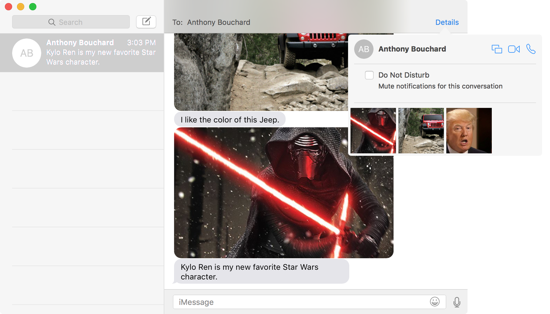 Attachments to an iMessage conversation