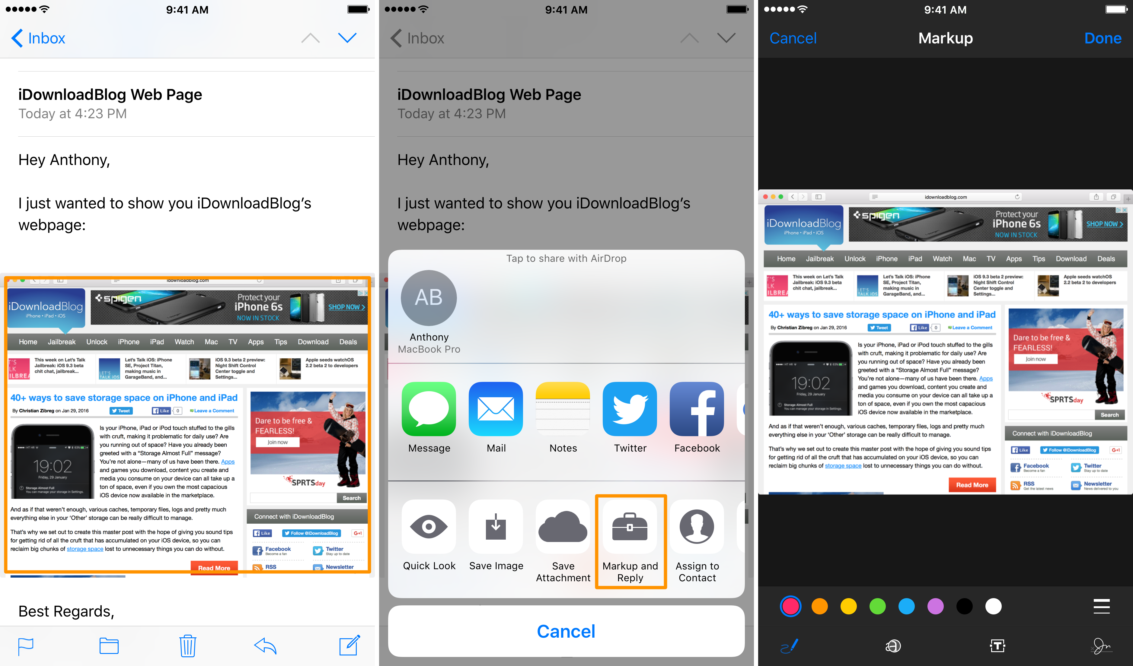 how to markup in mail for ios main