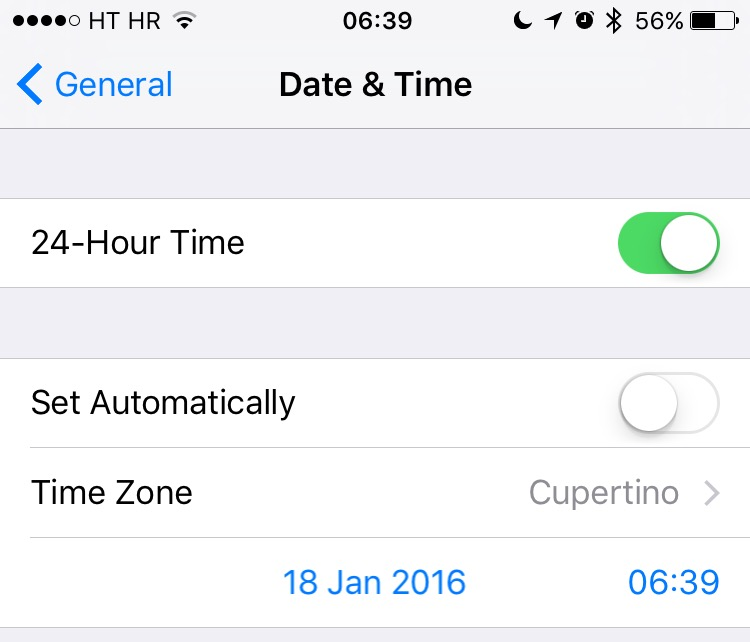 iOS 9 Date and Time iPhone screenshot 002