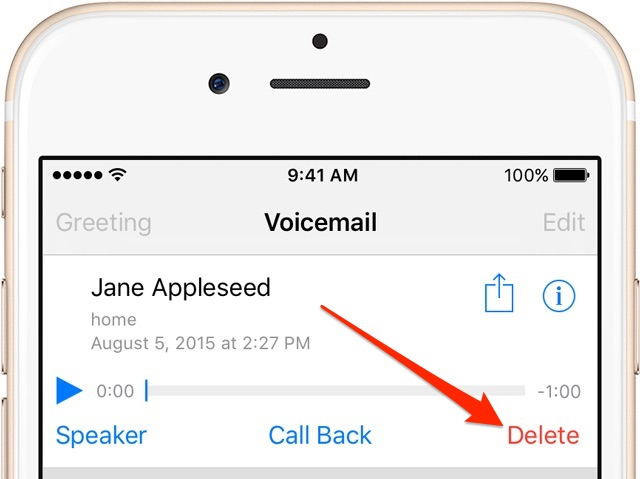 iOS 9 Delete Voicemail iPhone screenshot 001