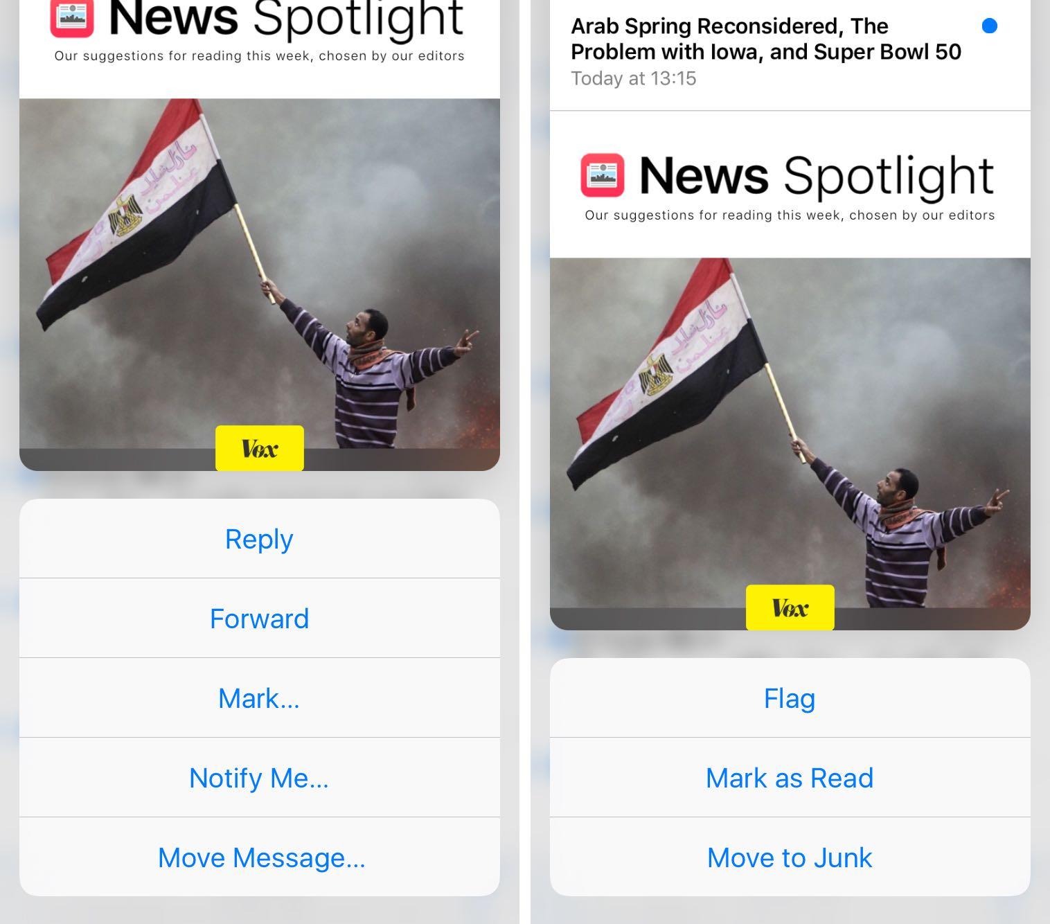 Las acciones de correo electrónico de iOS 9 Mail 3D Touch se marcan como captura de pantalla 005 del iPhone 6s