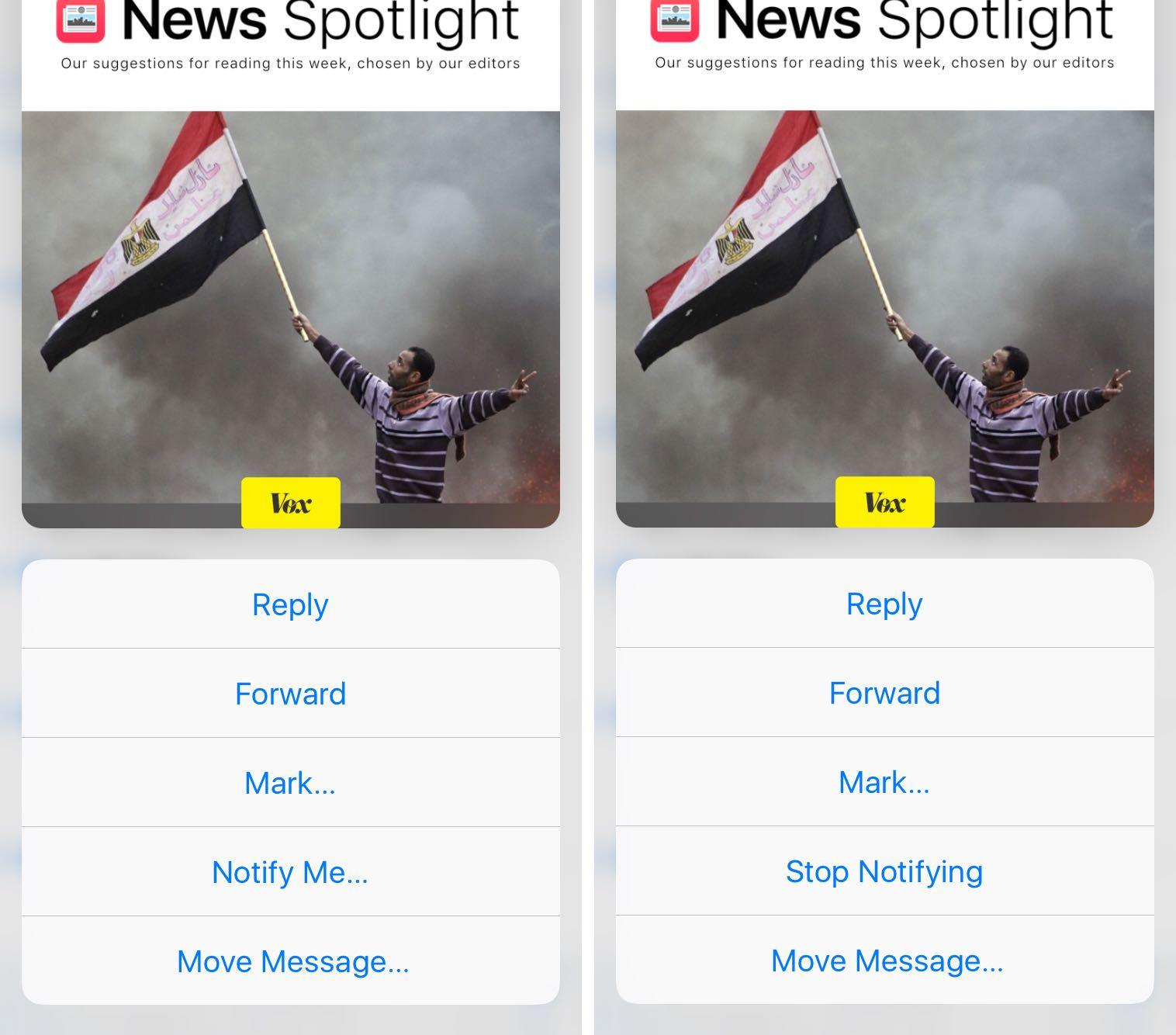 Las acciones de correo electrónico iOS 9 Mail 3D Touch notifican la captura de pantalla 006 del iPhone 6s