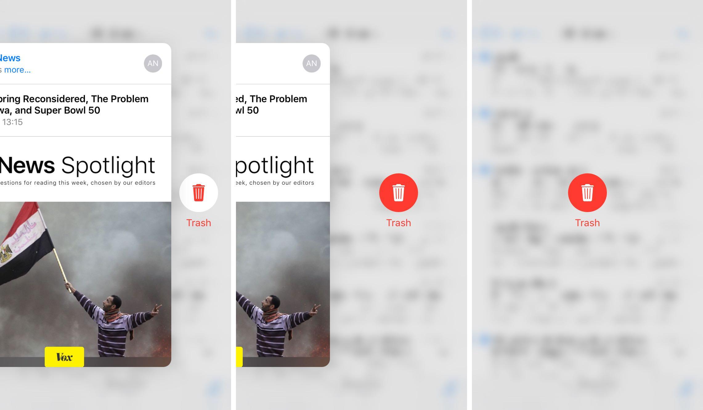 iOS 9 Mail 3D Touch acciones de correo electrónico basura iPhone 6s captura de pantalla 004