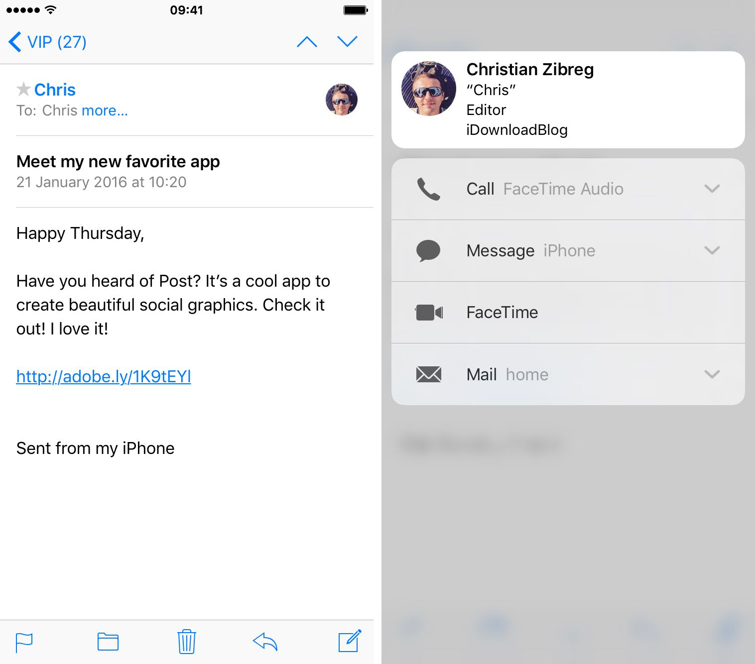 iOS 9 Mail 3D Touch preview contacts iPhone 6s screenshot 008