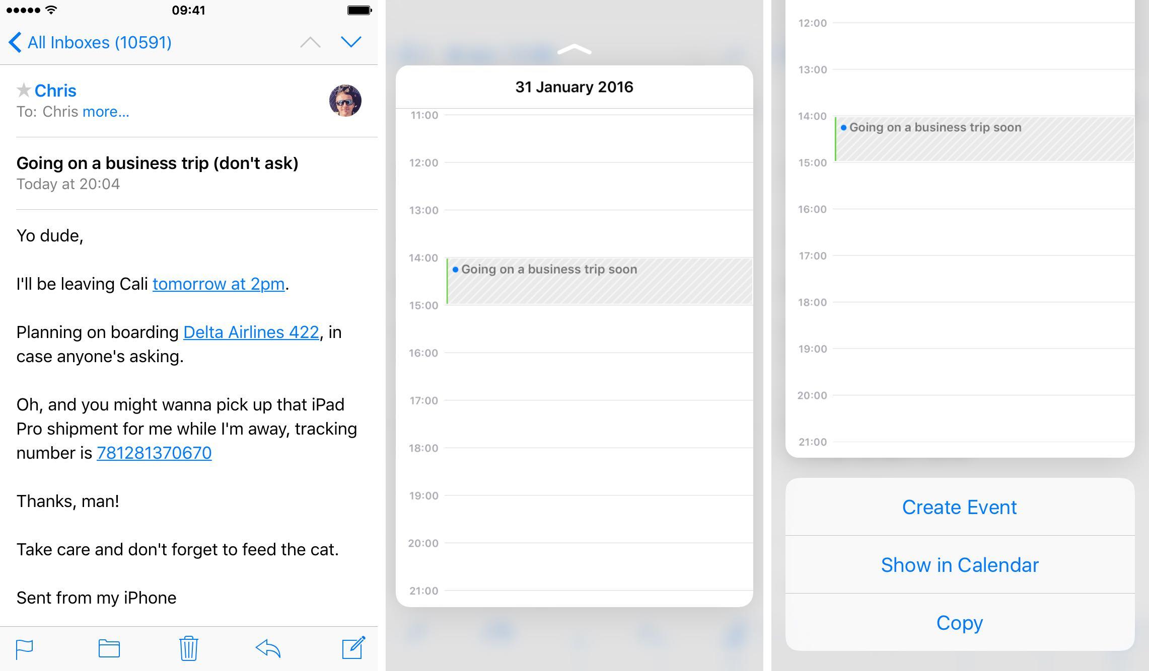 iOS 9 Mail 3D Touch previsualización de fechas y horas Captura de pantalla del iPhone 6s 007