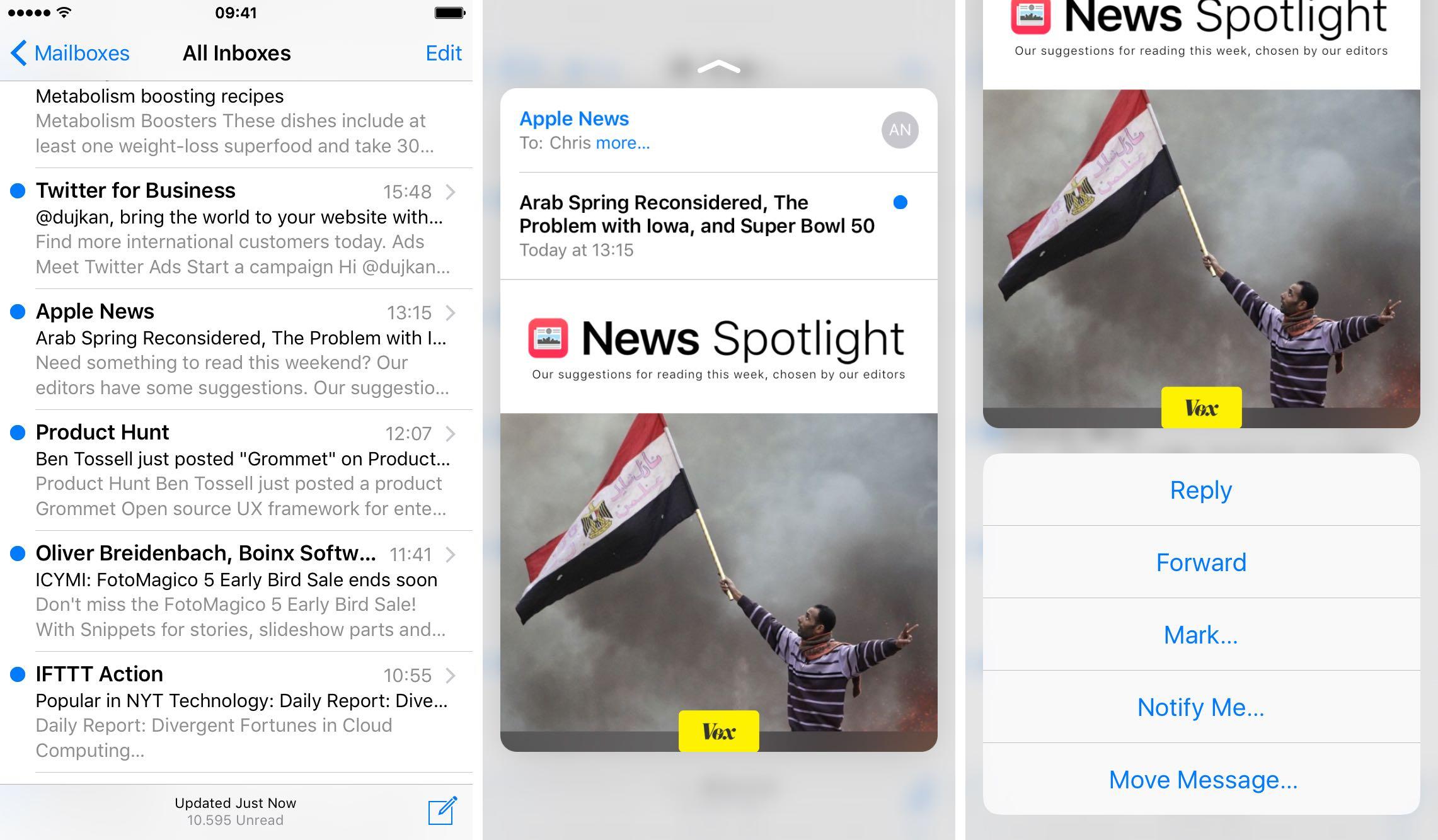 iOS 9 Mail 3D Touch vista previa de correos electrónicos iPhone 6s captura de pantalla 002