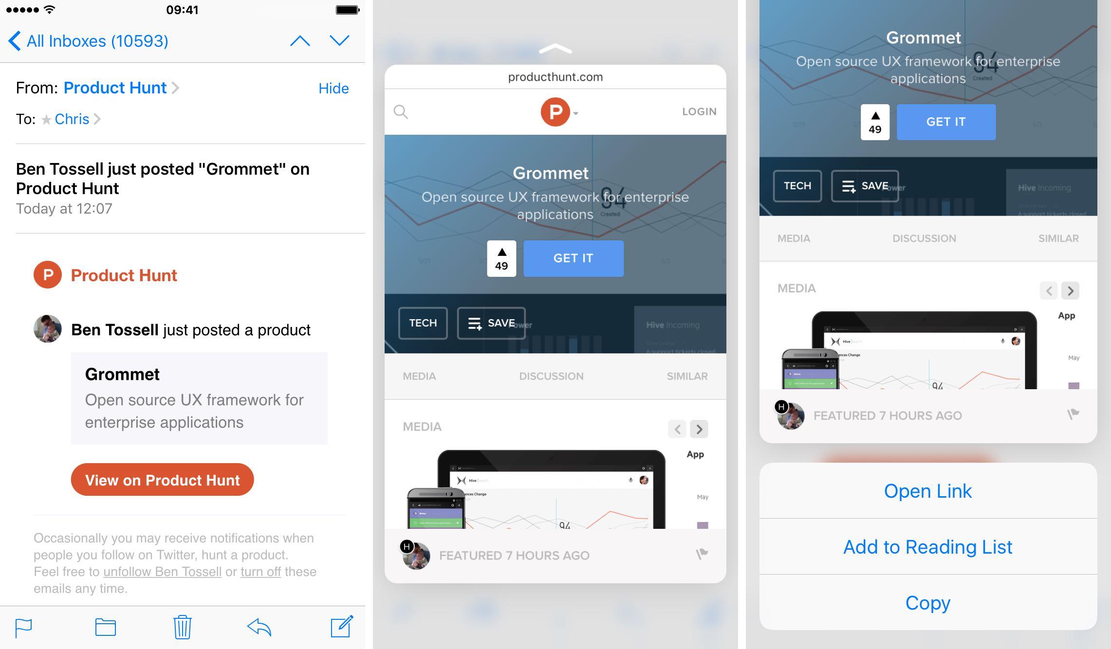 iOS 9 Mail 3D Touch previsualización de enlaces web en correos electrónicos Captura de pantalla del iPhone 6s 003