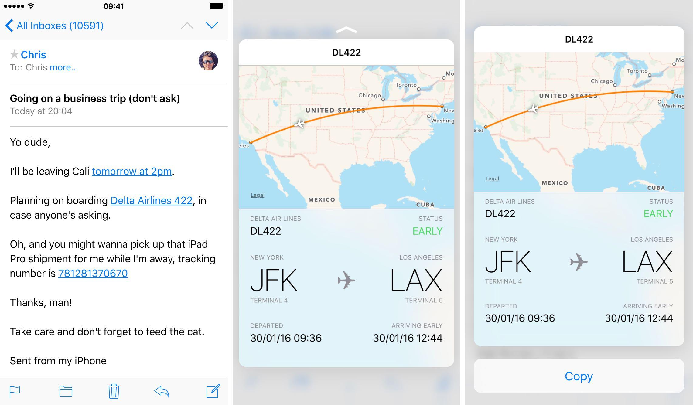 iOS 9 Mail 3D Touch rastrea vuelos iPhone 6s captura de pantalla 007