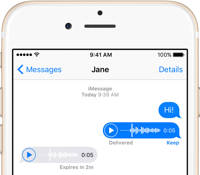Messages audio recording on iPhone