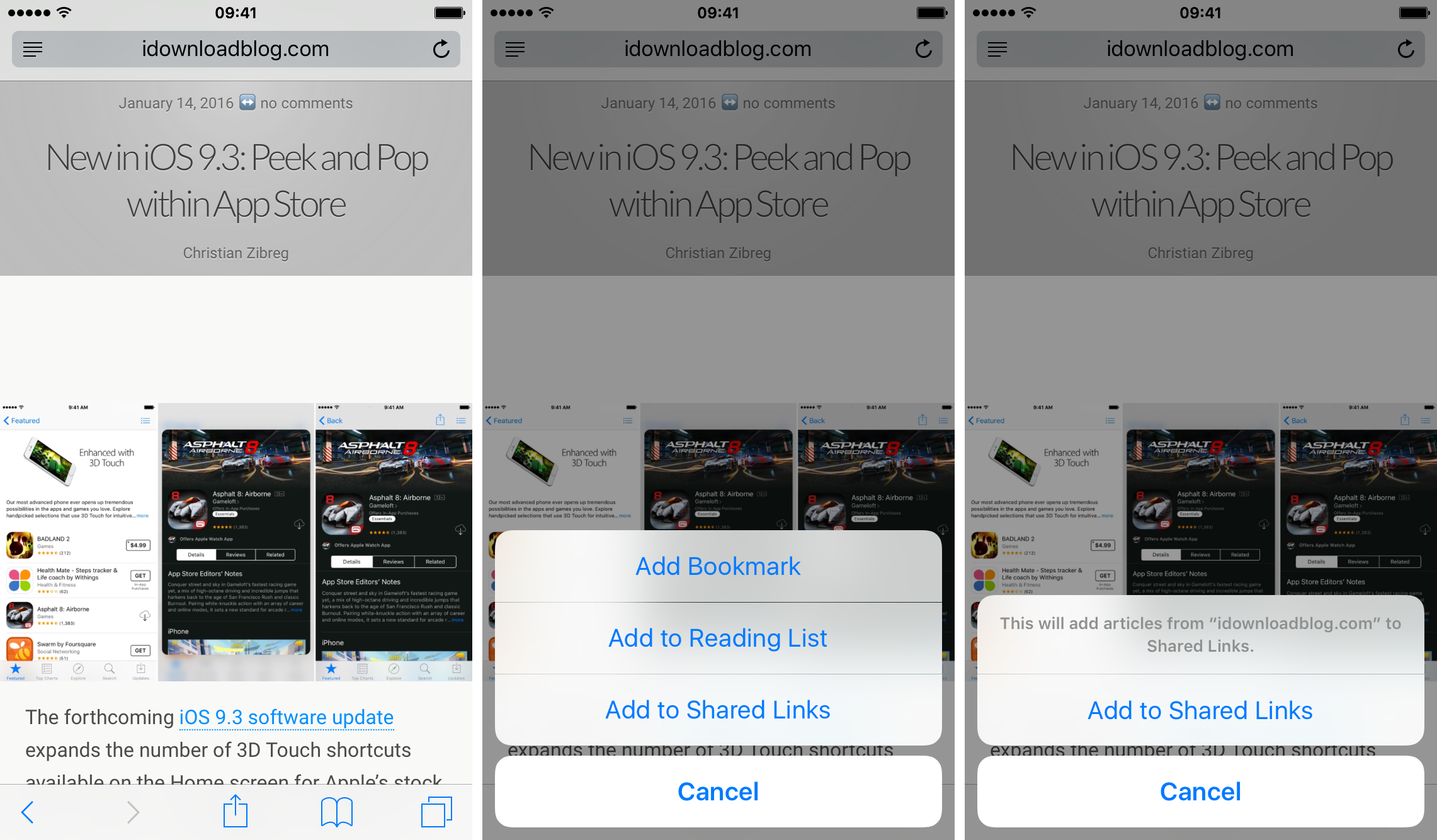 iOS 9 Safari Add to Shared Links iPhone screenshot 001