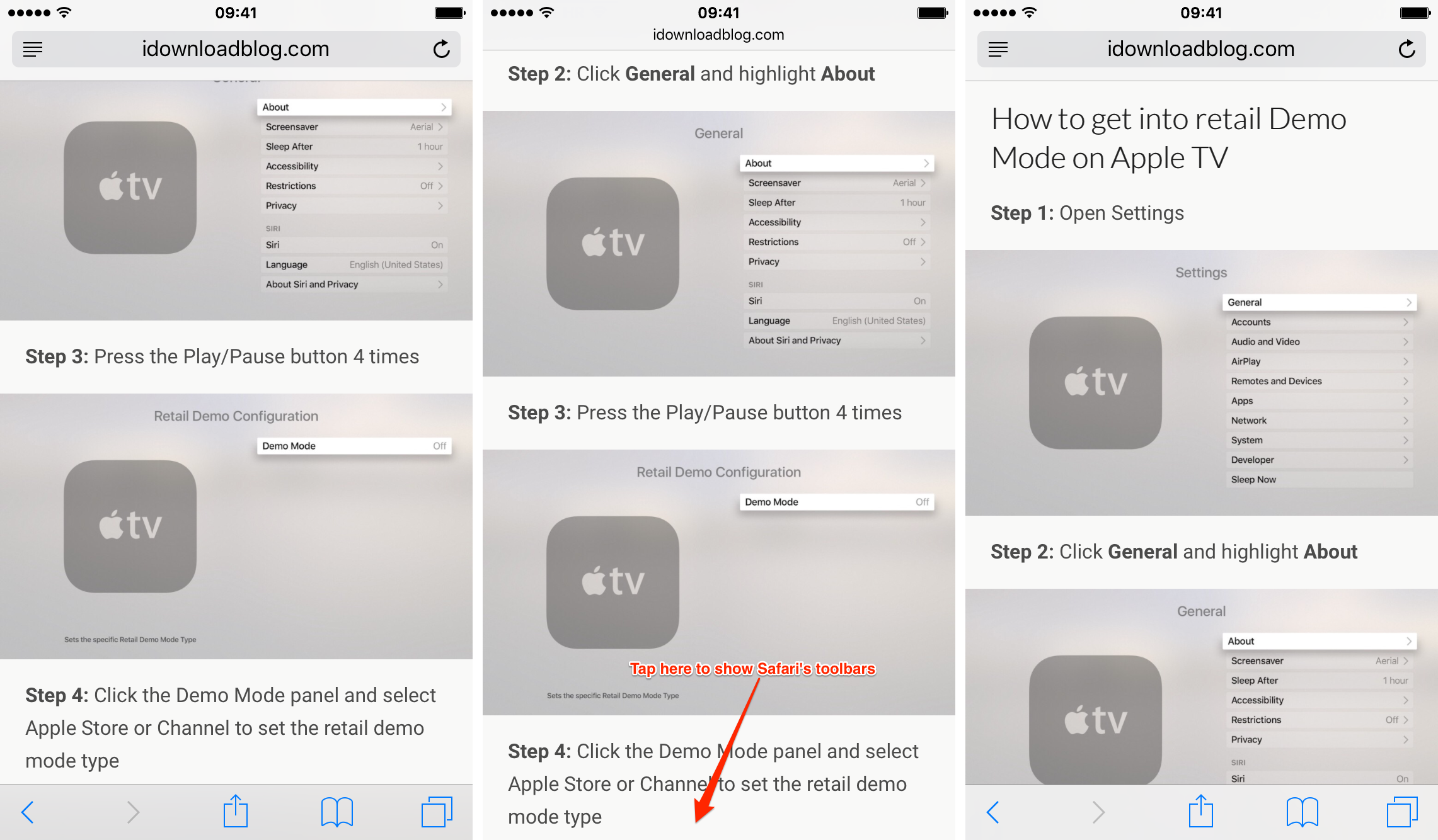 Show toolbar shortcut on Safari for iPhone