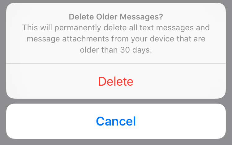 Confirm deletion of old messages