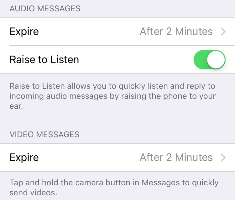 iOS 9 audio video message expiration iPhone screenshot 001