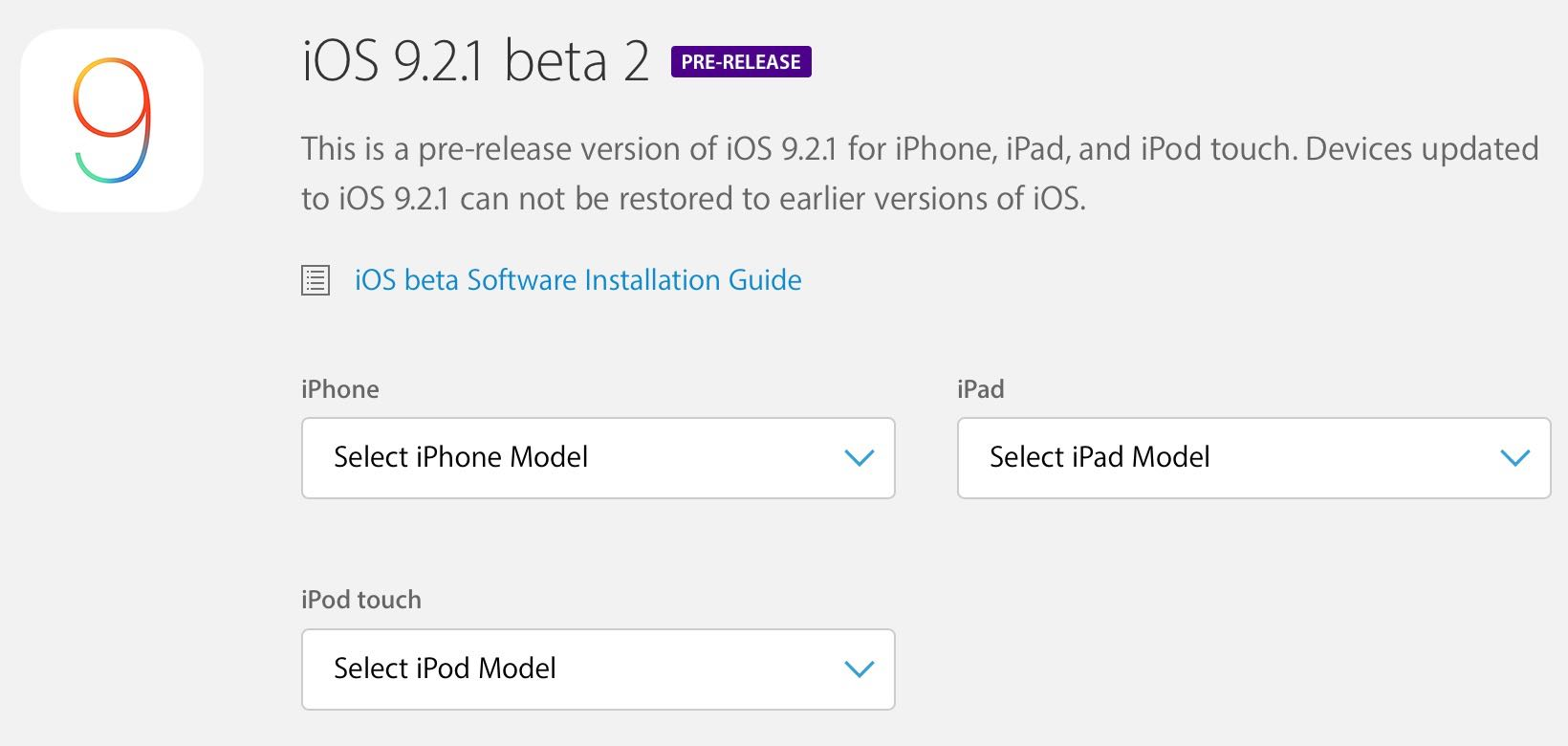 iOS 9.2.1 beta 2 update