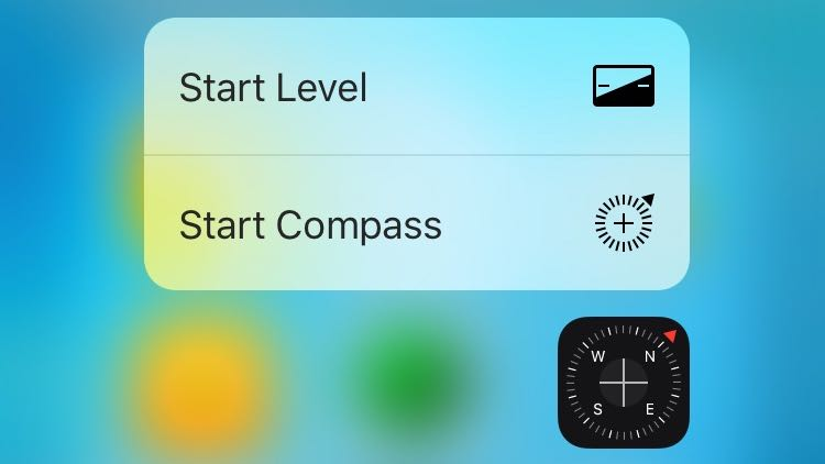 iOS 9.3 3D Touch Compass Home screen shortcuts iPhone 6s screenshot 001