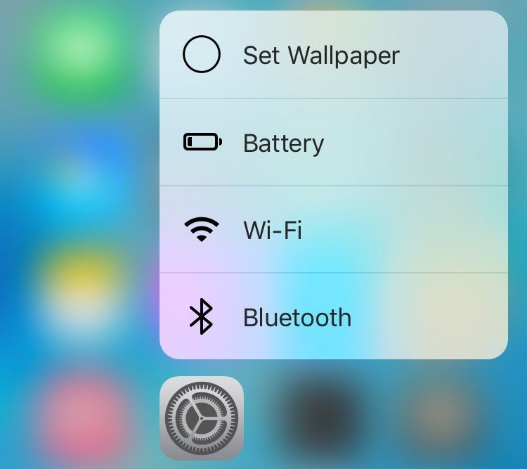 iOS 9.3 3D Touch Settings Home screen shortcuts iPhone 6s screenshot 001