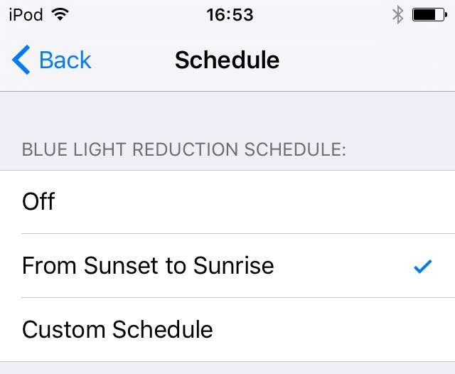 iOS 9.3 Night Shift mode iPod touch screenshot 002