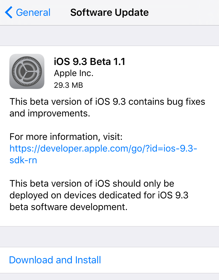 iOS 9.3 beta 1.1 OTA