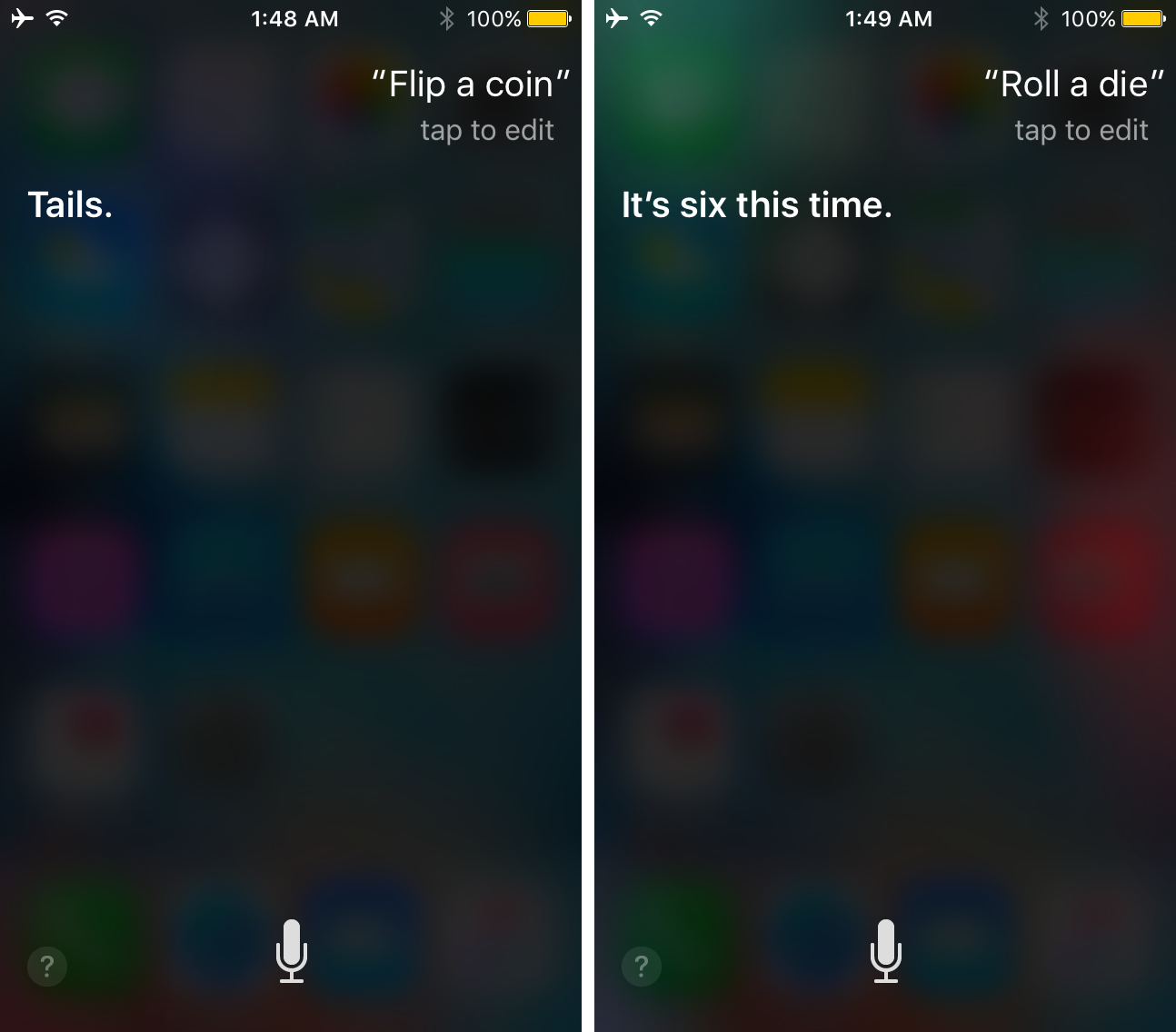siri roll dice or flip coin