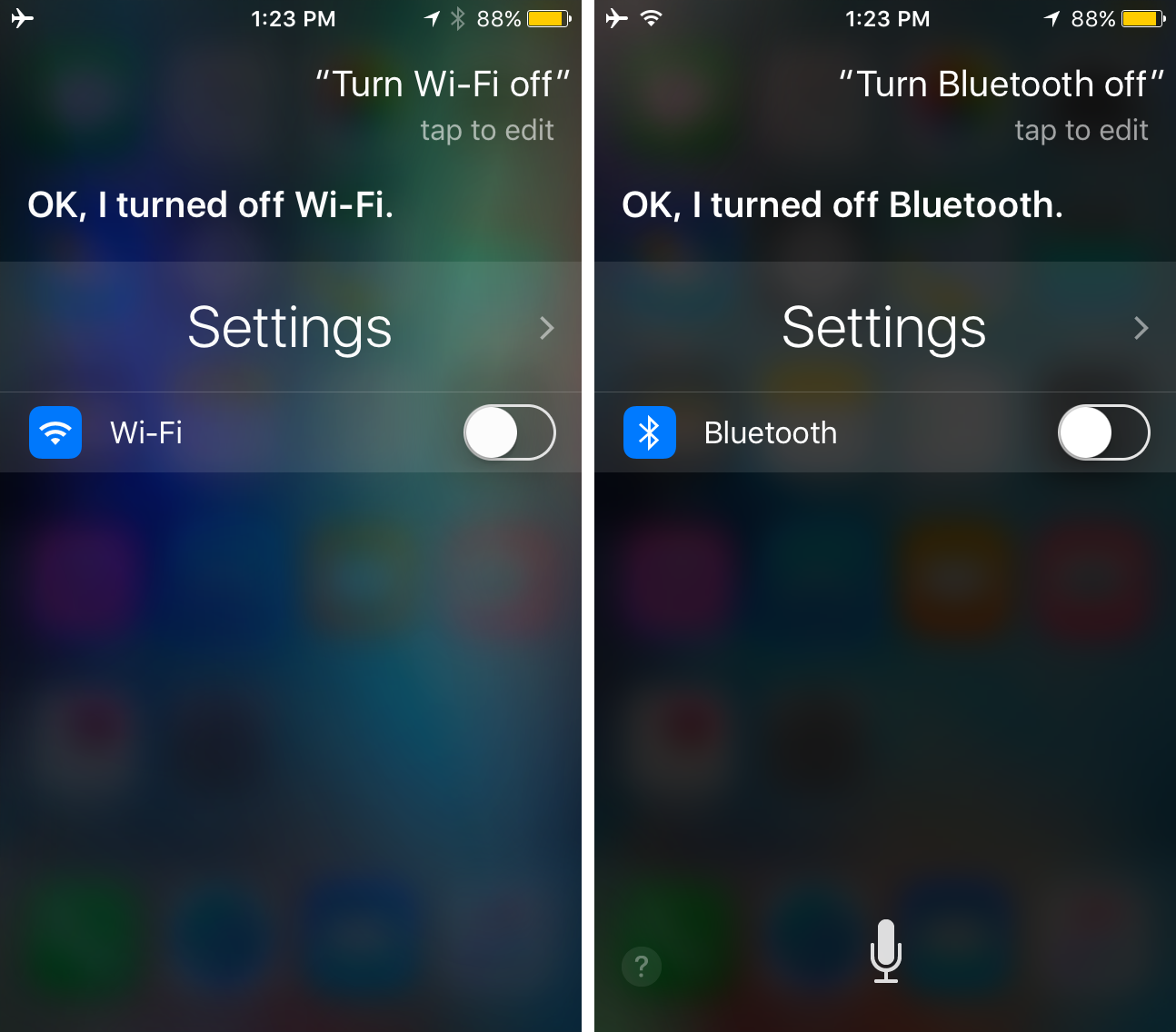 Use Siri to toggle off wi-fi or Bluetooth