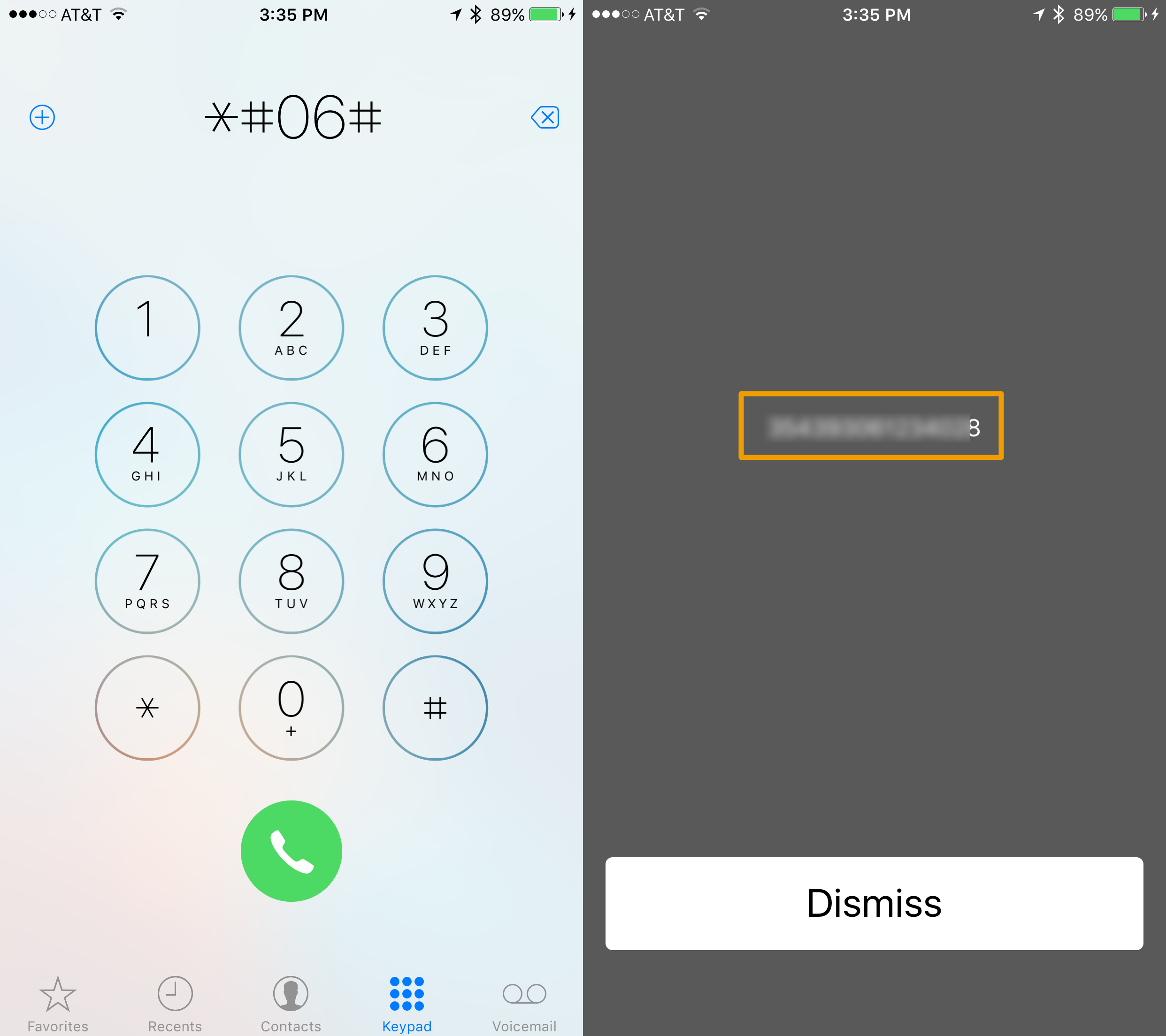 Find iPhone IMEI number using the Phone app