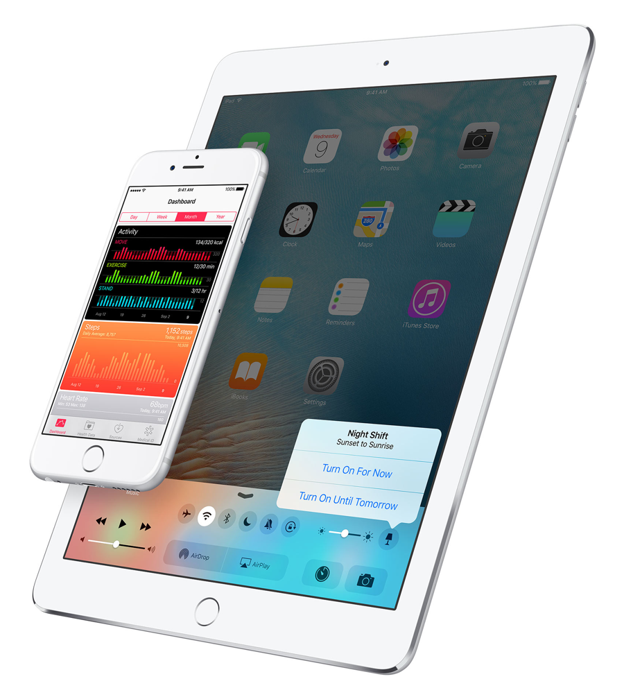 ios 9.3 night shift toggle control center