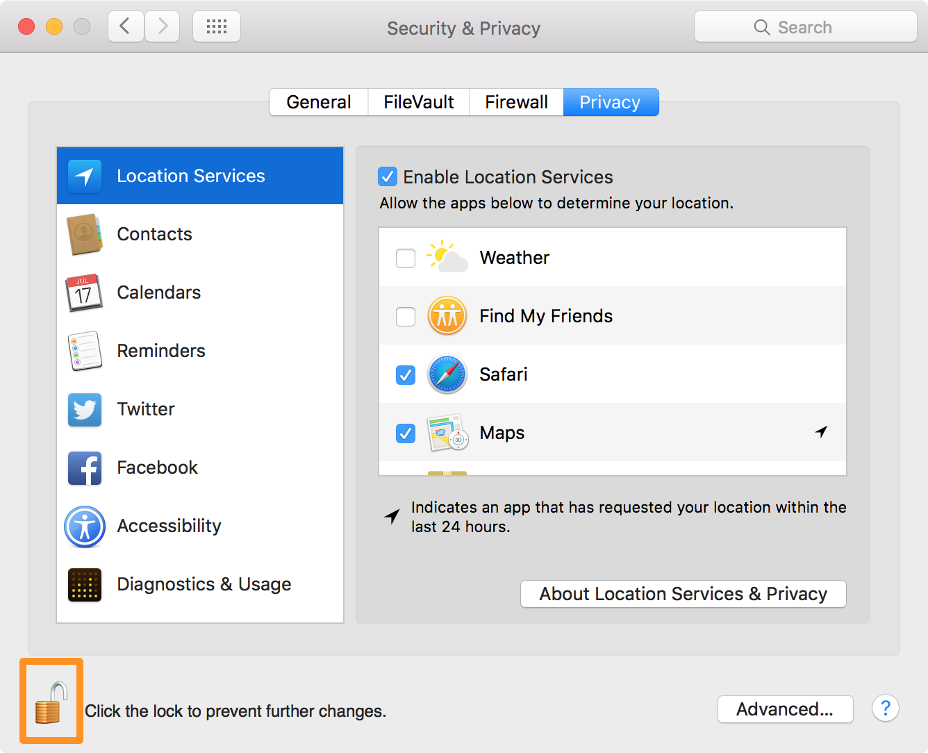 Mac location services in privacy settings