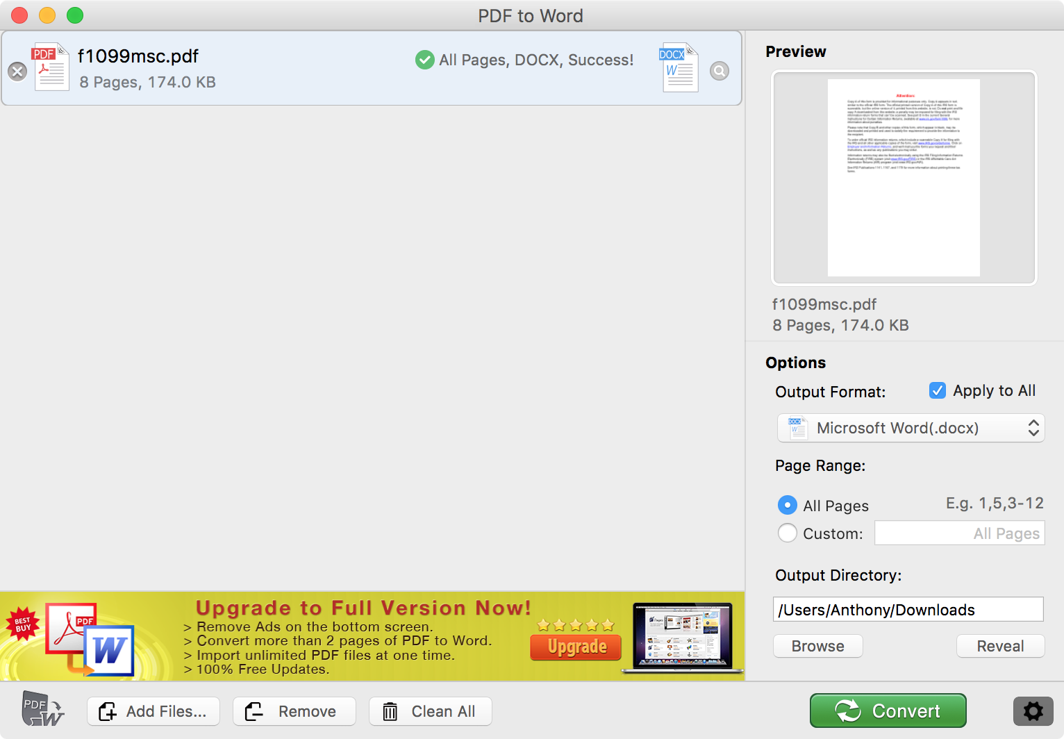 PDF file converted to .docx