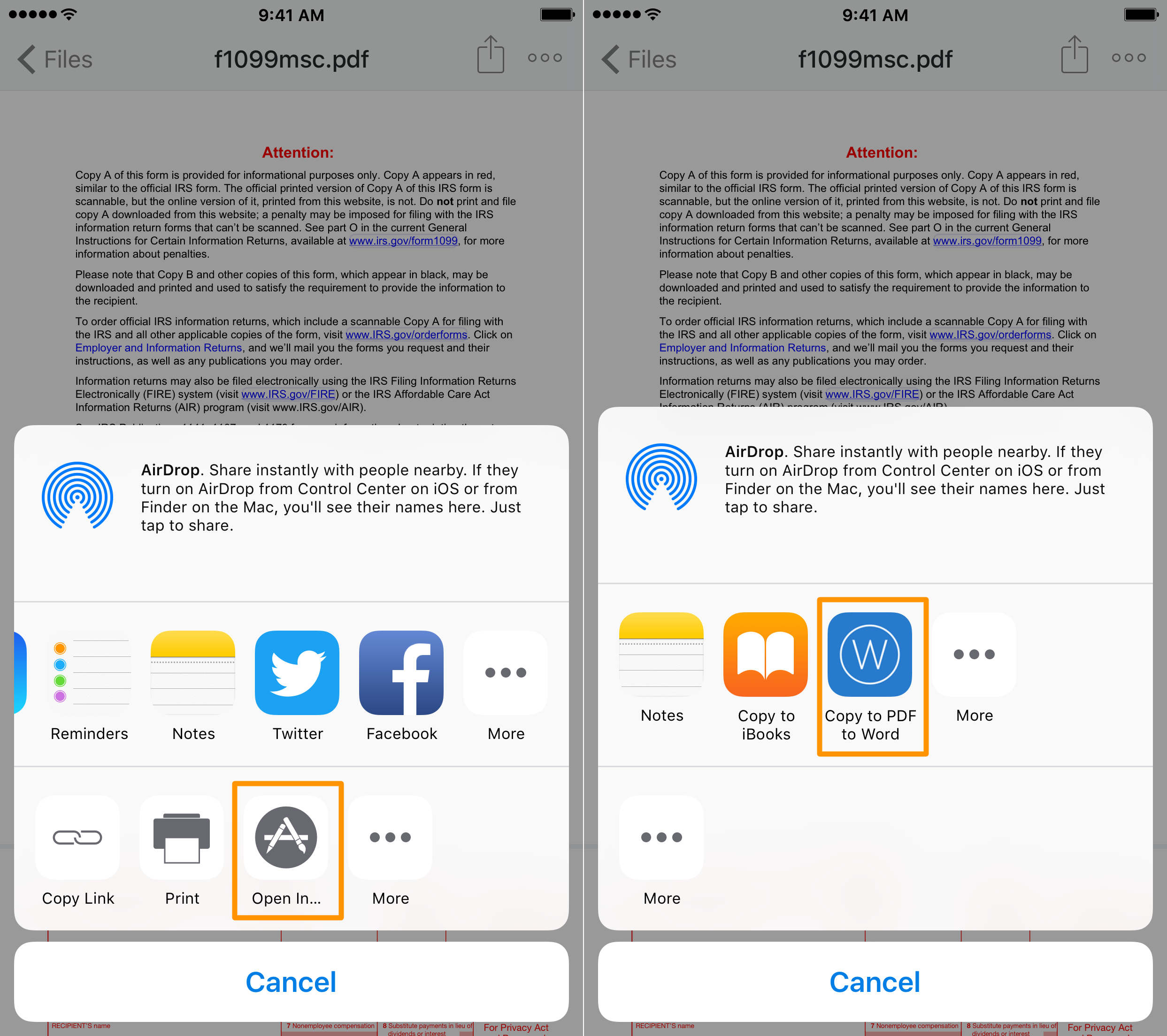 Copy file to convert PDF to Word on iphone