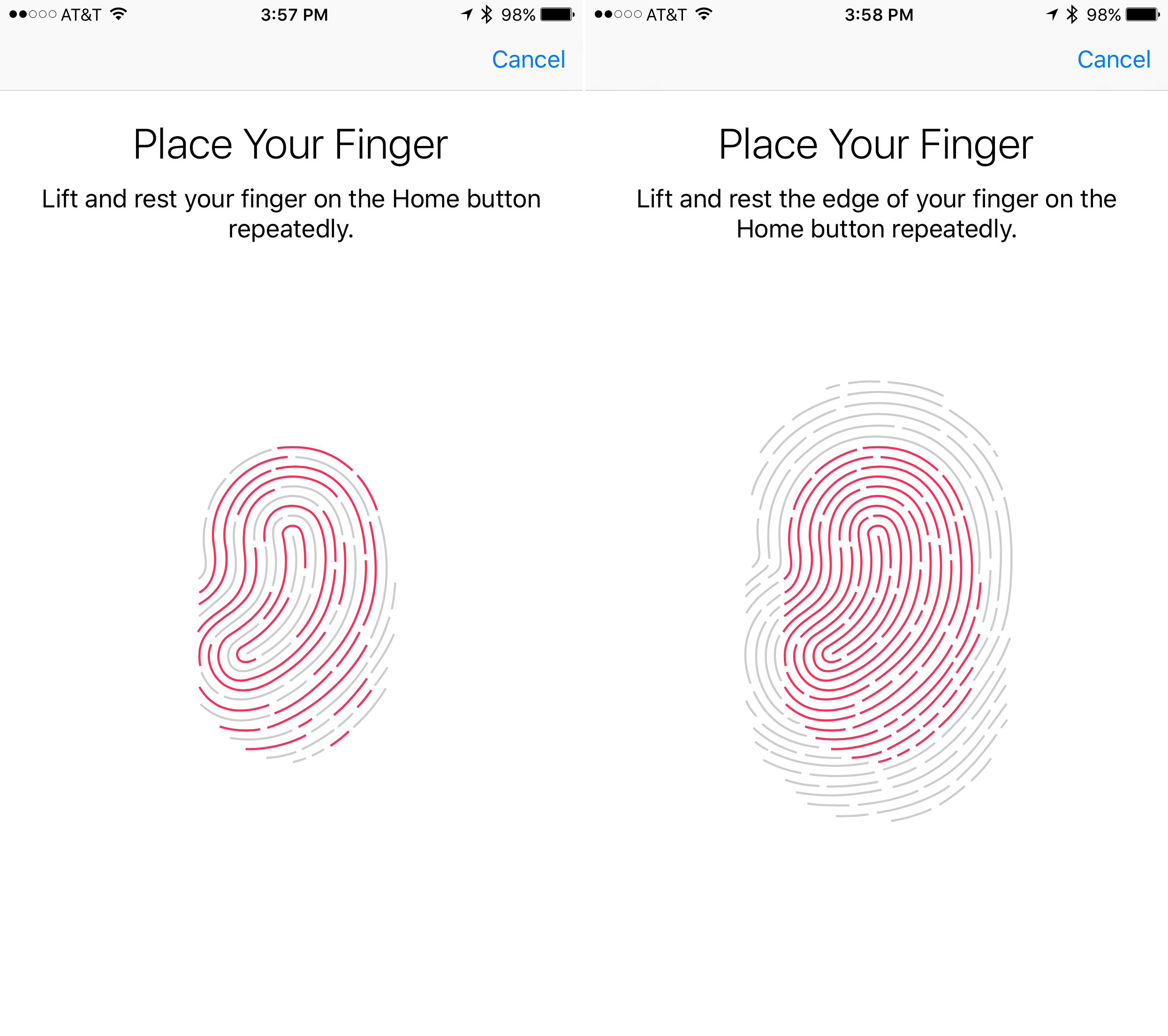 Place finger on Touch ID to set up