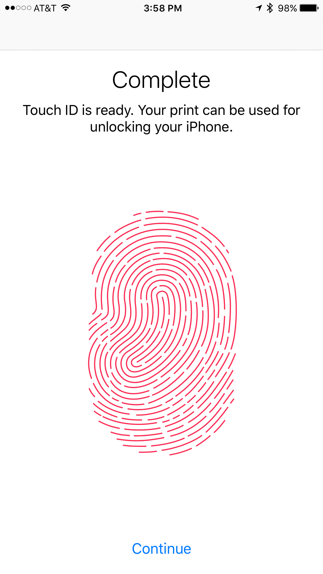 Complete new Touch ID fingerprint