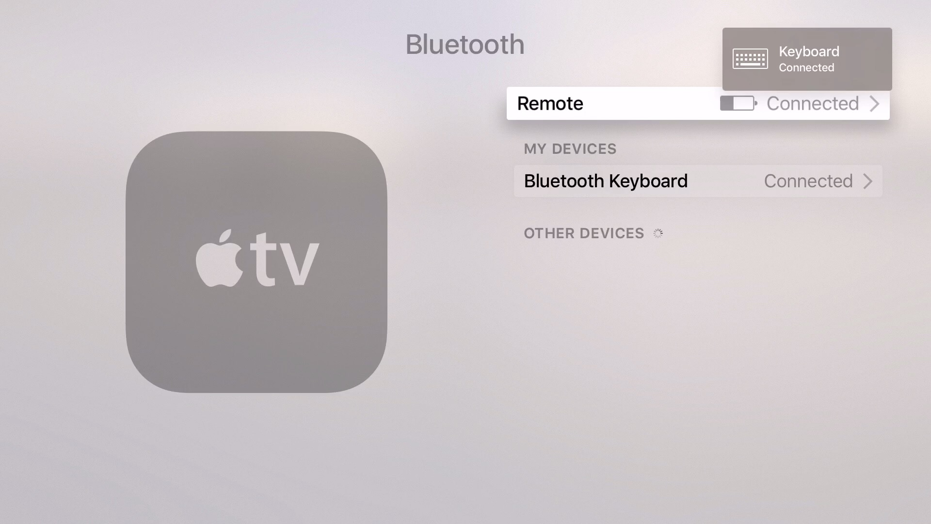 tvOS 9.2 beta 1 Bluetooth Keyboard