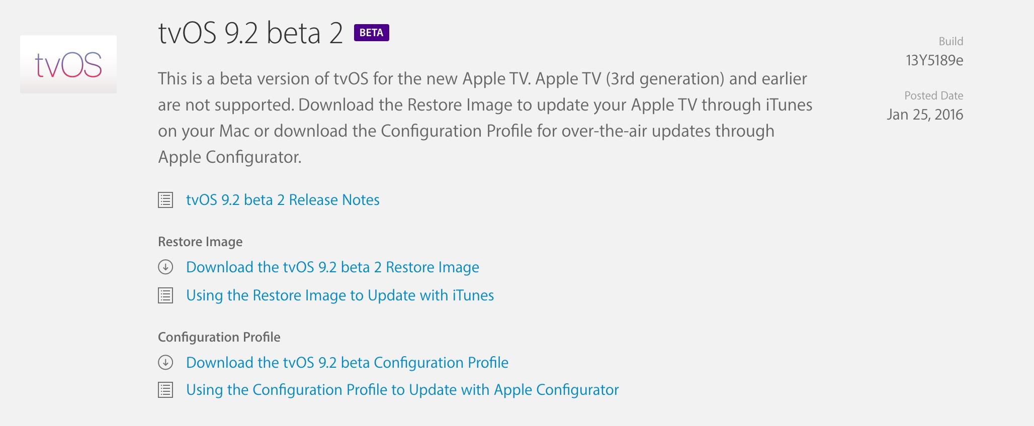 tvOS 9.2 beta 2