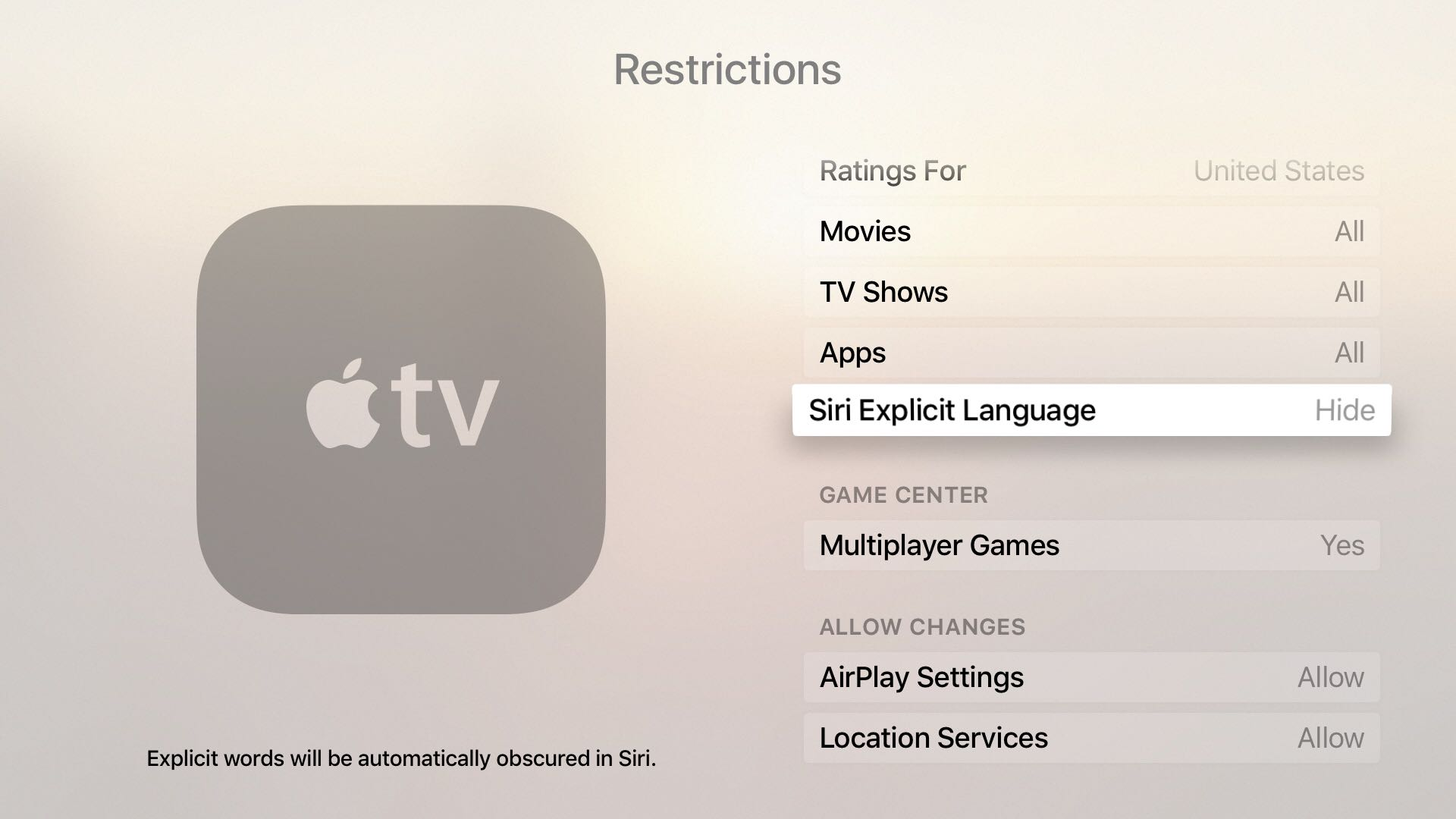 Siri explicit language on  Apple TV
